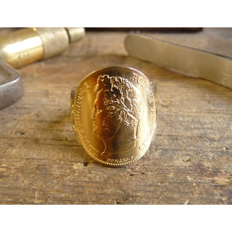 Bague pièce or 20 Francs Louis Philippe fourche large